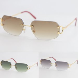2020 Metal Popular new Style Rimless Sunglasses Men Women with C Decoration Wire Frame Unisex Eyewear for Summer Outdoor Traveling