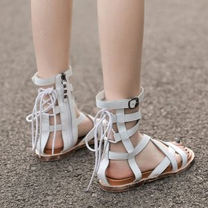 Womens Sandals Gladiator Female Flat Rome Cross Tied Ankle Buckle Strap Ladies Shoes Casual Zipper 2020 Woman Summer 7jWw#