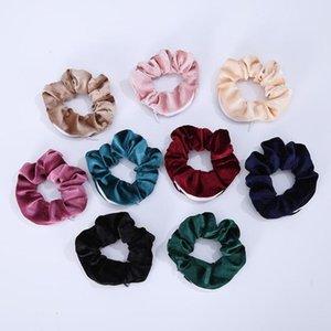 Velvet Scrunchies Zipper-elastische Haar-Gummibänder Frauen-Mädchen-Fest Farbe Haar-Riegel-Seil-Pferdeschwanz-Halter Hairband Kopfbedeckung