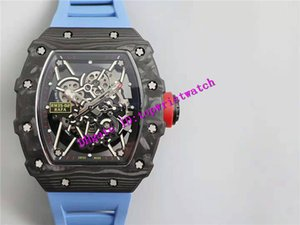 KV RM35-02 Luxury Watch Tonneau NTPT Carbon Fiber Wristwatch Swiss M8215 Automatic 21600 vph Skeleton Dial Sapphire Waterproof Rubber Strap