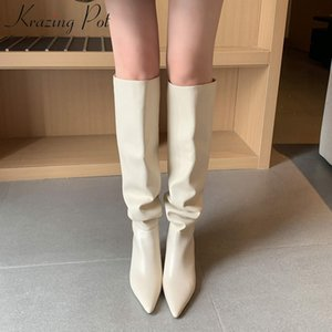 Krazing Pot 2020 cuero genuino puntiagudo puntiagudo tacones altos resbalones en zapatos de invierno club nocturno Partido plisado rodilla sólida botas altas L85 C0202