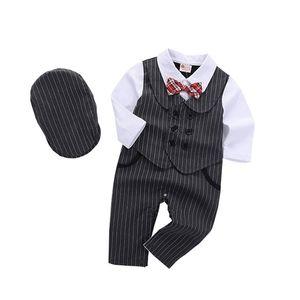 2020 Baby Boy Ropa Romper + Boerets 24m 18m Ropa Conjuntos Cotton Boys Ropa Bebé Arco Negro Manga Larga Formal Q0109