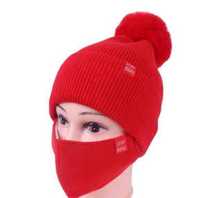 Dhl Shipping Womens Girls Knit Beanie Cap With Face Mask Set Soft Warm Lined Winter Ski Pompom Hat Outdoor C wmtbfh pthome