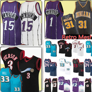 Retro Mesh Vince 15 Carter Allen 3 Iverson Jersey Grant 33 Hill Tracy 1 McGrady Reggie 31 Miller John 12 Stockton Basketball Jerseys