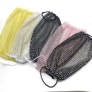 Bling Bling Diamond Face Mask Fashion Trend Nightclub Bar Rhinestones Masks Washable Reusable Fishing Net Face Mask Free Shipping
