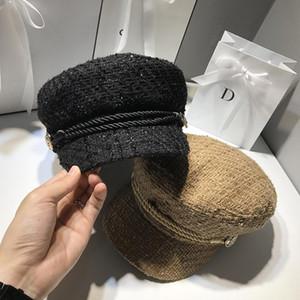 2020 Moda otoño invierno y sombreros de las señoras de las mujeres sombreros de pana Caps Europa y América retro Flat Top casual salvaje Cap octogonal