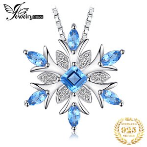 Snowflake Natural Swis Blue Topaz Pendant Necklace 925 Sterling Silver Gemstones Choker Statement Necklace Women No Chain LJ201009