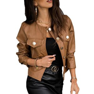 Pu Leather Jackets Women Solid Colour Button Coats Ladies Winter Faux Leather Jackets Single Breasted Slim Outerwear D30