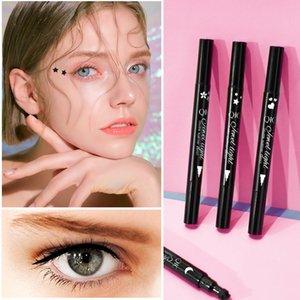 QIC 2 in 1 Double-ended Liquid Eyeliner Pen Super Slim Stamp Eye Liners Waterproof Long Lasting Tattoo Makeup Tool