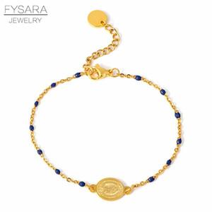 Fysara Bracelet coloré perles Religion charme pour les femmes Jwelry or en acier inoxydable Bacelet Choker chaîne Bnagle Christian sqcifC bdecoat