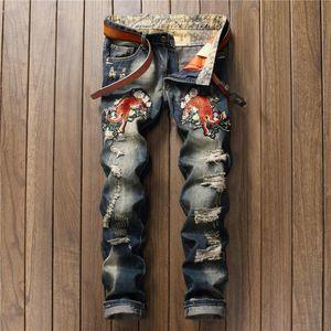 LeoSoxs вышивка тигра мужчины джинсы дырки огорченные отбеленный промытый мужской ковбой прямой случайные цветочные джинсовые джинсовые джинсы