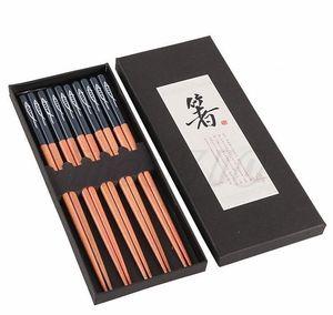 Neue japanische hölzerne Set 5 Paare von spitzen Essstäbchen, die üblicherweise in der Heimgewendung verwendet werden, und eine Box mit 23 cm Abendessen-Essstäbchen T3I5039 BBYOELR