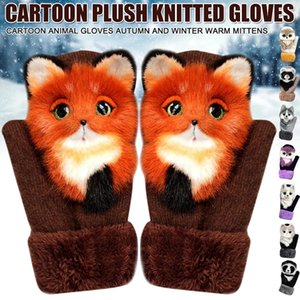 New Style Animal Pattern Cat Dog Panda Design Warm 7 Colors Gloves Autumn And Winter Warmth Plush Knitted Gloves For girl DHL Free shipping