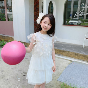 New girls dress 2021 summer kids flowers dresses Fashion toddler baby girls Lace party dress