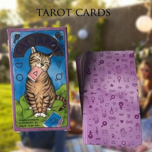 78pcs Cat Tarot Cards Full English Version Tarot Deck Board Game Cards For Friends Family Party Game yxlurO toptrimmer