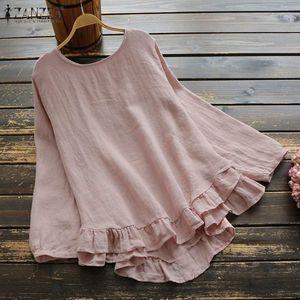 Women's Asymmetrical Blouse ZANZEA Elegant Ruffle Shirts Casual Cotton Long Sleeve Shirts Female O Neck Blusas Plus Size Tunic1