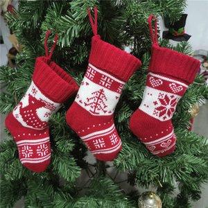 Natal Knitting Socks 9 Inch Fios de malha Gift Bag Festival Xmas indoor Ornamento de suspensão Crianças Doce Sock