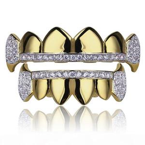 Gold Grillz Jewelry Hip Hop Dental Grills 2019 Fashion Exquisite Glaring Zircon 18K Gold Plated Teeth Braces 2-Piece Set Wholesale LP023