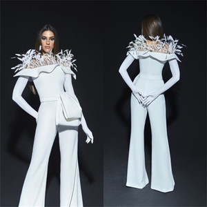 Newest Jumpsuit Evening Dresses Fashion Feather Ruched Satin Party Dresses Long Sleeves Formal Prom Dresses Custom Made Robe de soirée