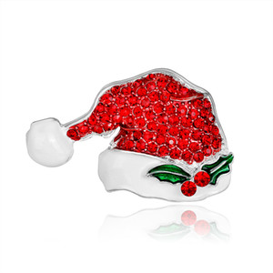 Full Rhinestones Christmas Jewelry Pin Set Women Enamel Christmas Hat Brooch For Gifts
