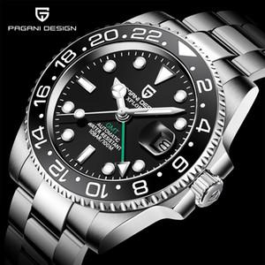 PAGANI design da marca Sapphire vidro relógio automático reloj hombre Luxo Homens de relógio mecânico Aço Inoxidável GMT Assista Men 201113
