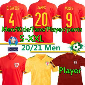 Galles calcio maglie della squadra nazionale di Euro Cup Cymru casa lontano BALE James Ramsey Uomo Bambini Maglia magliette di calcio Camisetas 2020 2021