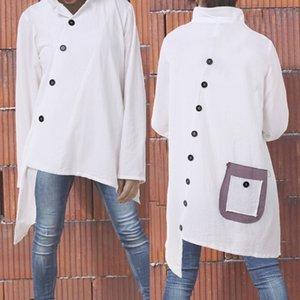 Celmia Womens Camisas Blusas Algodão Vintage Tops Assimétricas de Manga Longa Bolsos Bolsos Casuais Fina Blusas Feminina 5xl Y200402