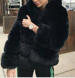Женский меховой из искусственного зимнего пальто женские овцы плюс размер теплый с длинным рукавом куртка с капюшоном пальто
