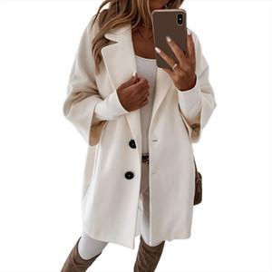 Women Casual Autumn Winter 3 4 Sleeve Pockets Buttons Long Coat Loose Jacket Women Autumn Pockets Buttons Long Coat Loose Jacket