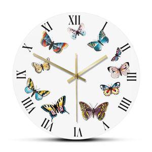 Colorful Butterflies with Roman Numerals Modern Wall Clock Bedroom Kitchen Silent Hanging Clock Wall Watch Butterflies Gift Idea