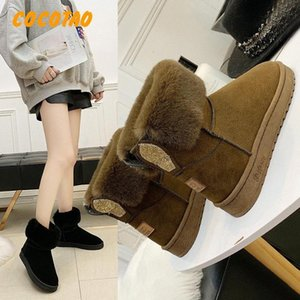 2019 Autumn And Winter Korean Version Of The New Snow Boots Women Plus Velvet Thick Cotton Boots Womens Flat Warm Cotton DHiv#