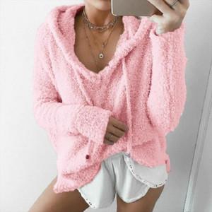 Women Hooded Drawstring Fluffy Mohair Sweatshirt Autumn Warm Soft Fleece Hoodies V Neck Loose Plush Pullover Jumper Casual Tops