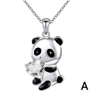 2020 Lovely Panda Pendant Animal Necklace For Women Sweet Heart Shape Crystal Dangle Chain Necklace Charm Jewelry Girls Gifts