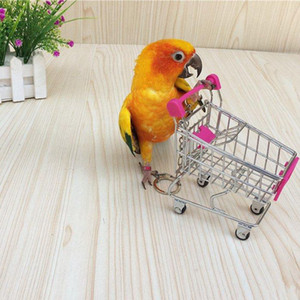 120pcs Mini Shopping Trolley Simulation Bird Parrot Hamster Toy Mini Supermarket Shopping Cart Utility Vehicle Pretend Play House Bird Toy