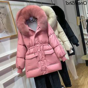2020 Kış Yeni Gelenler Faux Kürk Kapşonlu Uzun Beyaz Ördek Aşağı Coat Kadınlar Jacket Oneyisha