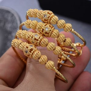 24K 4шт Цветок цвета золота Дубай Bangles For Baby Girls Round инкрустированы камень браслет девушки женщин невесты Дубай браслеты ребенка ювелирных изделий 201009