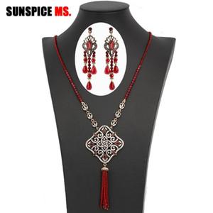 Sunspice-MS El Yapımı Doğal Taşlar Boncuk Küpe Kolye Kadınlar Için Set Yüksek Kalite Fas Antik Altın Renk Düğün Takı