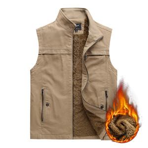 2020 middle-aged and elderly plus velvet vest men's winter outdoor leisure stand collar warm waistcoat fashion brand