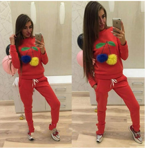 Cherry carino Suit Set 2019 donne tuta in due pezzi Sport Style Outfit Jogging Felpa fitness Lounge Sportwear