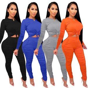 Femmes Long Skinny Pantalons Costumes plissés sport Stack Outdoor porter des vêtements Survêtements Deux Pièces Set à manches longues T-shirts