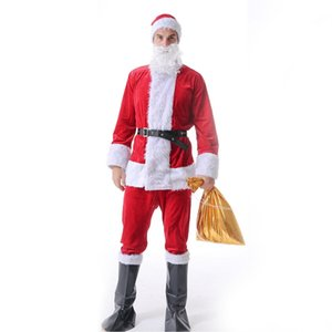 1 Suit Christmas Santa Claus Cospaly Costume Fancy Dress Adult Male Suits Cosplay Red Outfits Belt Beard Hat Set sqcXZG sports2010