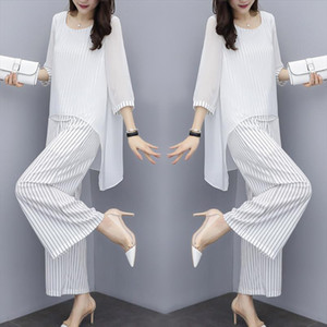 Chiffon Pantsuits Women Pant Suits For Mother of the Bride Outfit 2021 Formal Wedding Guest Striped Wide Leg Loose 3 Piece Sets