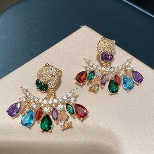 Retro Color Earrings Lion Head Earrings Drop Zircon Tassel Earrings Women Designer Earring Temperament Crystal Studs