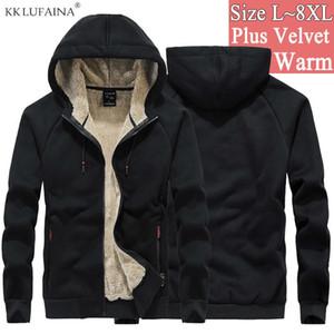 Mens Cotton Winter Super Warm Coats Thicken fleece streetwear hip hop Hoodies Sweatshirts Men wool Sportswear Sudadera 7XL 8XL