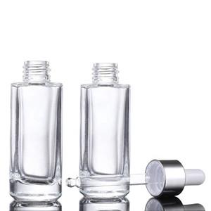 Kare şeffaf cam damla şişeleri 15ml 30ml 50ml uçucu yağ için altın gümüş kapaklı dikdörtgen cam yağ şişeleri