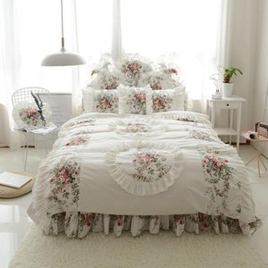 Korean style bedding set Three-dimensional flower print duvet cover ruffle bed sheet princess wedding bedroom textile 4 6pcs