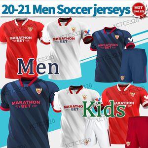 Sevilla FC Soccer Jersey # 10 i.rakitic # 9 de jong 2020 2021 Hogar de la camisa del tercer fútbol personalizado Uniformes de fútbol personalizados Hombres + Niños