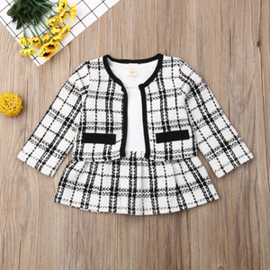cute baby girl clothes for 1-6 years old qulity material designer two pieces dress and jacket coat beatufil trendy toddler girls suit outfit