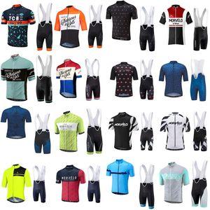 여름 Morvelo 팀 남자 사이클링 저지 턱받이 반바지 세트 자전거 의류 Ropa Ciclismo MTB 편안한 통기성 Sportwear G62008