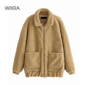 Wixra Womens Casual Khaki Coat Ladies Zipper Outwear Jacket Loose Lamb Wool Street Style Overcoat Autumn Winter